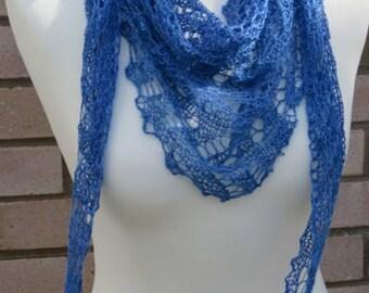 Blue Silk Scarf, Handspun Triangular Silk Scarf, Shawl