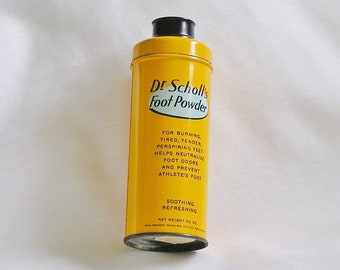 Vintage Dr. Scholl's Foot Powder Can for Display, Retro Advertising Collectible, Dr Scholls 1960s Home Products
