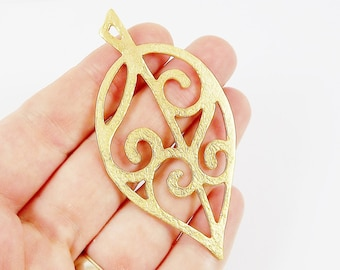 Large Fretwork Leaf Pendant Charm - 22k Matte Gold Plated - 1PC