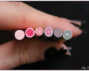 x 6 polymer clay millefiori cakes Cane spiral sweets kawaii 5cm