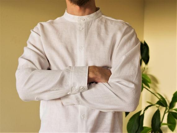 White linen classic handmade men's shirt gBYEEXoK