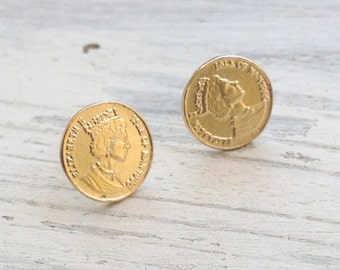 Gold earrings, stud earrings, coin earrings, classic earrings, gold filled stud earrings, gold coin, everyday earrings ,6205