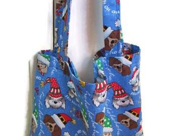 Christmas Tote Bag, Shopping Bag, Reusable Grocery Bag, Holiday Bag