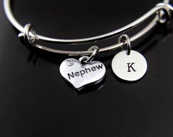 Nephew Bracelet Silver Nephew Charm Bangle Nephew Charm Nephew Jewelry Nephew Gift Personalized Bangle Initial Bracelet