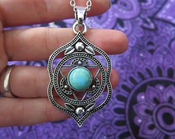 Chakra flower Agnya/ajna talisman necklace yoga