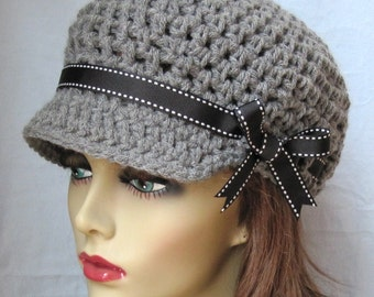 READY TO SHIP Medium Crochet Newsboy Gray Teens Womens Hat, Black Ribbon, Chemo Hat, Birthday Gifts, Photo Prop, Handmade JE55ANML3