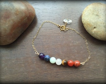 Sterling Silver Chakra Bracelet-Gold Filled Chakra Bracelet-Genuine Gemstone Bracelet-Healing Bracelet-Energy Bracelet-Chakra Healing