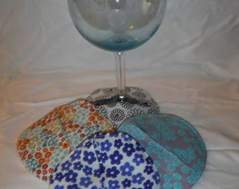 Set of 4 Flower Wine Glass Coasters -- Oversized --DreamscapesByCyn -- Floral