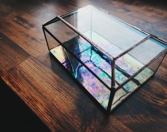 Jewelery box, casket for decoration, Wedding ring box, geometric glass box, engagement ring box, casket