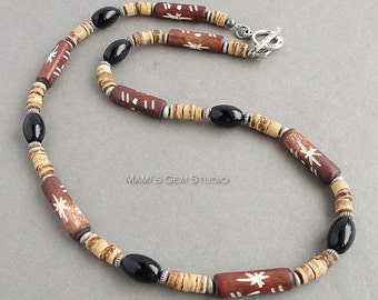 Beaded Necklace for Men - Carved Bone, Coco Shell, Black Onyx, Brown, Tan, Tribal, Mens Casual Handcrafted Jewelry