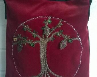 Tree of Life, Velvet and Denim Upcycled and Embellished Messenger bag