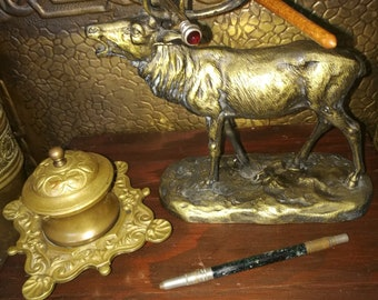Vintage Stag  , Pen Holder Paperweight , Spelter Stag