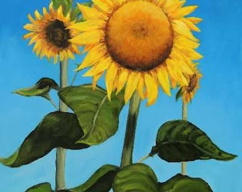 Sunflowers, Sunflowers Art, Sunflower, Sun Flower, Sunflower Art, Sunflower Decor, Painting, Kitchen Decor, by Dottie Dracos,Various Sizes