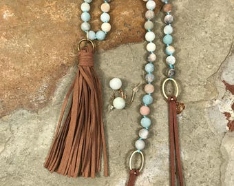 Leather tassel pendant on an amazonite and leather necklace with matching earrings