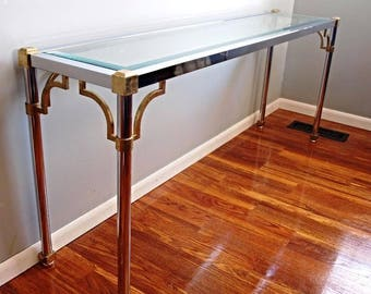 1960s Jansen Chrome Brass Glass Console Table End Side Dining Hollywood Regency