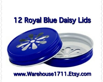 Mason Jar Lids ~ 12 ~ Daisy Lids ~ (Royal Blue)/Party Jar Lids/Wedding Jar Lids/Anniversary Jar Lids