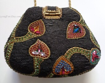 Rare M & J Hansen Designs Mesmerizing Brass w/ Black Beads Red Pink Yellow Blue Lime Green White Violet Crystals Gold Strap Bag Clutch Purse