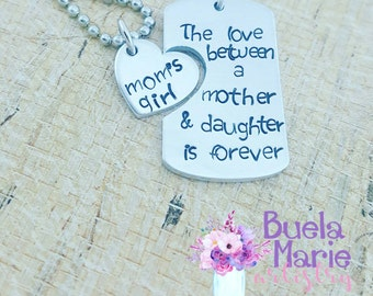 The love between a mother and daughter is forever- mother and daughter set- personalized jewelry for mommy and me.