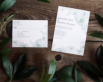 floral peony wedding invitation set - 50 invitations and response cards wedding stationery