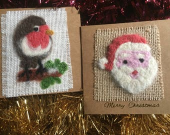 Beautiful Hand Made Felted Christmas Cards Robin and Santa Design
