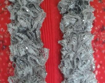 Crochet Ruffle Scarf, Fashion Scarf, Frilly Scarf