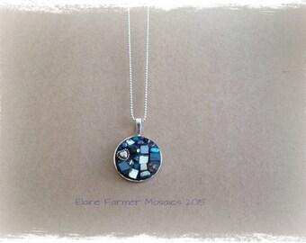 Blue Circle Mosaic Necklace Pendant