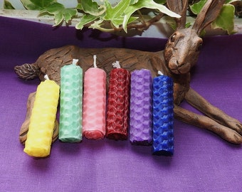 Set of 6 beeswax spell candles 6 different colours
