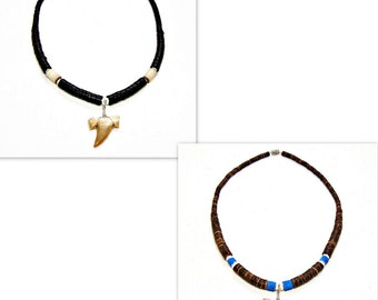 """18"""" Fossil Shark Tooth Hawaiian Surfer SUP Tribal Necklace Black or Brown Graduated Coco Beads 7068M"""