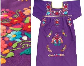 Vintage Embroidered Mexican Sundress Mini Dress Caftan Small Medium
