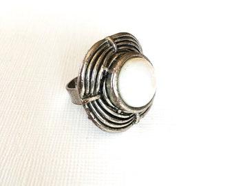 Retro jewelry costume jewelry silver tone ring