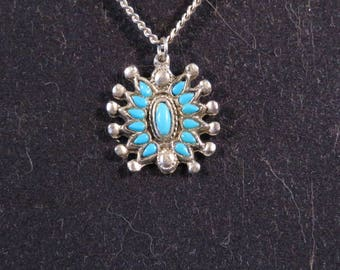 "TURQUOISE and Silver Tone PENDANT with Chain, TRIBAL Starburst Pinwheel Type, 1"" Diameter (#629)"
