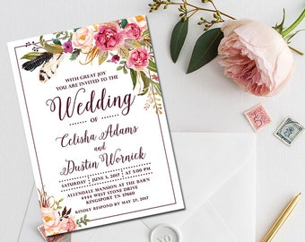 Wedding Invitation Suite, Wedding Invitation Set, Floral Wedding, Printable Digital File