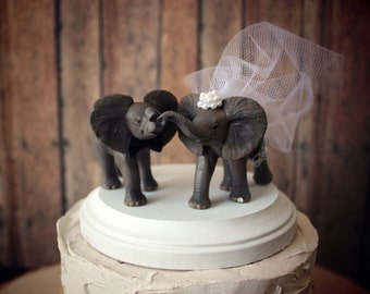 Elephant wedding cake topper-elephant lover-circus-bride and groom-animal-jungle-wedding cake topper-elephant