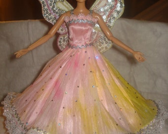 One of a kind pink, silver and gold Angel dress with silver sequined wings for Fashion Dolls - ed489