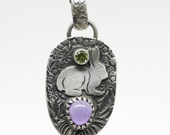 Amethyst Rabbit Pendant with Peridot,  Spring Necklace, Bunny, Flowers, Daisies, Sterling Silver, Handmade, Mothers Day Gift, Made in NH,