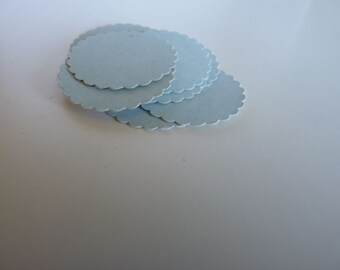 Circle sticker envelope seals - light blue with scalloped edges