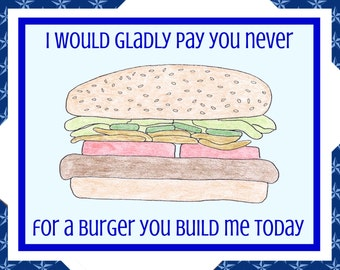 Funny Greeting Card, Burger, Trump Cards, Political Cards, Trump Quotes, Anti-Trump, Political Humor, Liberal Humor, Humor Card, Funny Card