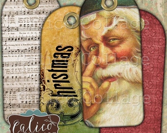 Vintage Christmas, Collage Sheet, 1.5 x 3.5 Inch, Christmas Music Tags, Printable Download, Scrapbook Tags, Digital Tags, Journal Spot