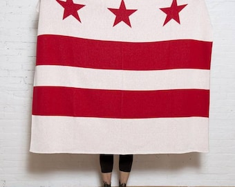 Eco D.C. Flag Throw- In2green Luxury Blanket, Recycled Cotton Blend, Knit in the USA, Flag Design