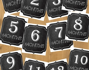 12 Baby's First Year Monthly Milestones Chalkboard Signs Baby Boy or Girl Digital Download Printable 8X10
