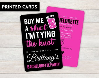 Bachelorette Party Invitations,  Personalized, Bachelorette, Bachelorette party, printed Bachelorette party invite, Pink and Gray