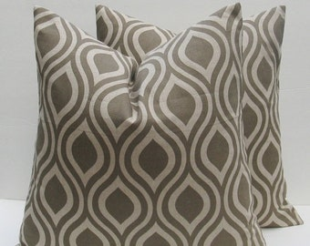 15% Off Sale 20x20 Throw Pillow Covers Light Taupe Pillow Covers  Geometric Printed Fabric both sides housewares 20 x 20