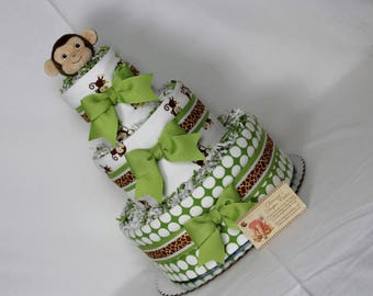 Monkey Baby Diaper Cake Green Shower Gift or Centerpiece