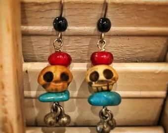 Dangle Earrings of skulls & stones