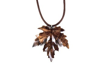 Wooden Leaf Pendant, Leaf Necklace, Maple Leaf Pendant, Maple Leaf Necklace, Leaf Jewelry, Wood Leaf Necklace, Wood Jewelry, Carved Pendant