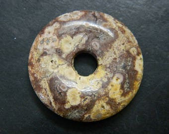 35MM natürlichen erdigen Beige und braun Feldspat Edelstein Donut Anhänger - Edelstein rund Donut Focals - Edelstein Donuts DT28 Großhandel