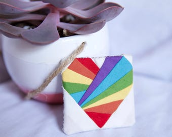 Rainbow Heart Fabric Fridge Magnet