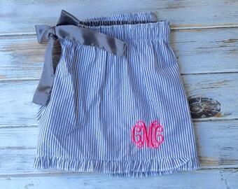 Monogram Seersucker Shorts, Ruffle Seersucker Monogram Shorts, Seersucker Shorts, Monogrammed shorts, Monogrammed gifts, Bridesmaid Gifts