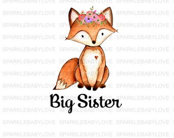 BIG Sister Iron On Ready To Press Transfer,Boho Fox Iron On Transfer Vinyl, Iron On Transfer, Big Sister Iron on, Unicorn HTV