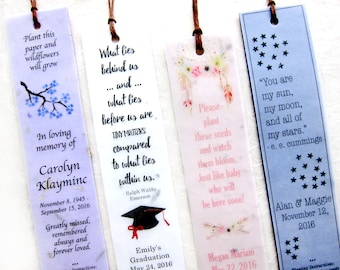 40+ Seed Wedding Bookmarks Plantable Flower Seed Paper Bookmarks - Personalized Custom Designs - Bohemian Woodland and more